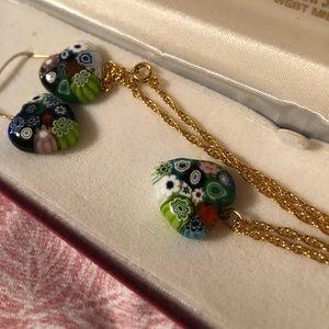 MURANO GLASS Heart PENDANT Necklace & Earrings